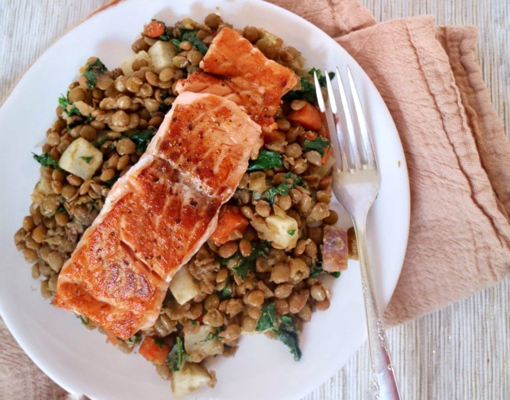 Seared Salmon with Veggieful Lentils
