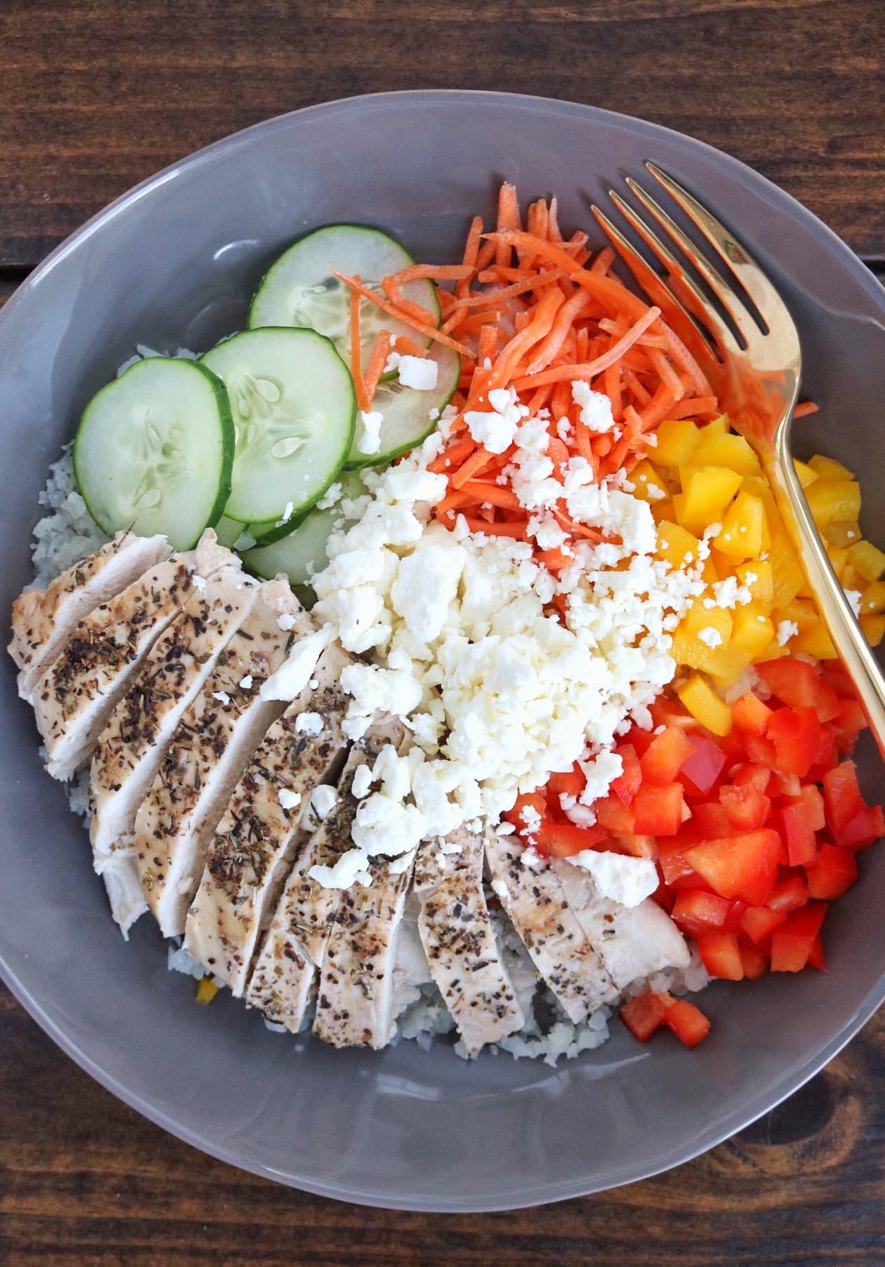 Greek Chicken Cauliflower Rice Bowl The Nutrition Adventure